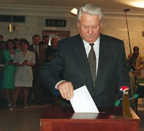 President Boris Yeltsin casts his ballot in the second round of voting in Russia's Presidential elections near his home in Barvikha, 10 miles (15 kms) west of Moscow, Wednesday July 3, 1996. Yeltsin is facing a stiff challenge from communist leader Gennady Zyuganov for re-election. (AP Photo/Dima Donskoi)