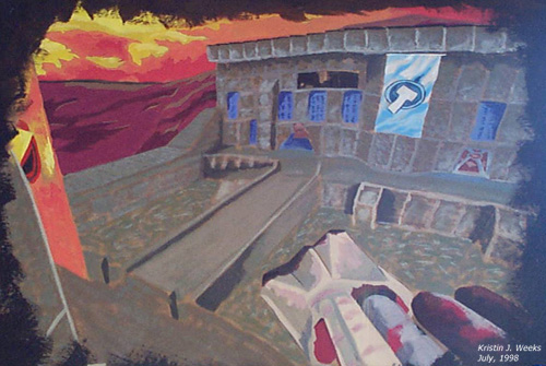 Quake 2 CTF Painting by Kristin J. Weeks July 1998