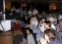 Everyone huddled in to watch the chasecam during one of the finals