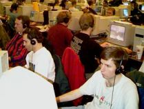 Red Baron Vexus and Lucidity engrosed in their Quake 2 game