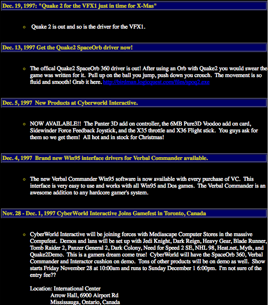 Cyberworld Interactive Spaceorb 360 And Vfx1 Headgear Donde Quake 2